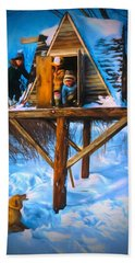 Winter Scene Three Kids And Dog Playing In A Treehouse Beach Towel