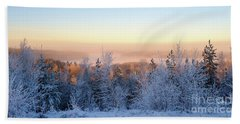 Winter Scenery Of The Lake Hiidenvesi Beach Towel