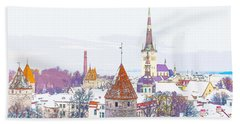 Winter Skyline Of Tallinn Estonia Beach Towel