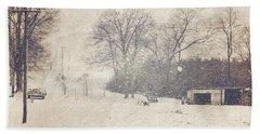 Winter Snow Storm At The Farm Beach Towel