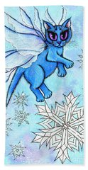 Winter Snowflake Fairy Cat Beach Towel
