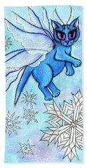 Beach Towel featuring the painting Winter Snowflake Fairy Cat by Carrie Hawks