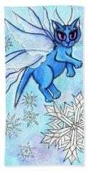 Winter Snowflake Fairy Cat Beach Towel