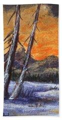 Beach Sheet featuring the painting Winter Solitude #1 by Anastasiya Malakhova