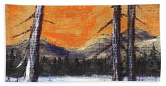 Beach Sheet featuring the painting Winter Solitude #2 by Anastasiya Malakhova