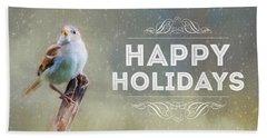 Winter Sparrow Holiday Card Beach Towel