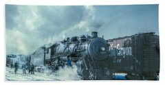 Winter Steam Train Beach Sheet