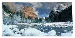 Beach Towel featuring the photograph Winter Storm In Yosemite National Park by Dave Welling
