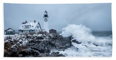 Winter Storm, Portland Headlight Beach Towel