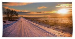 Winter Sunrise Light Beach Sheet