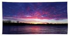Winter Sunrise On The Wisconsin River Beach Towel by Brook Burling