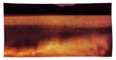 Winter Sunset Afterglow Reflection Beach Towel