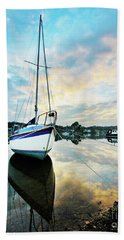 Winter Sunset At Mylor Bridge Beach Towel