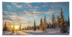 Winter Sunset Beach Towel by Delphimages Photo Creations