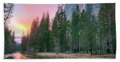 Winter Sunset On Horsetail Falls Beach Towel