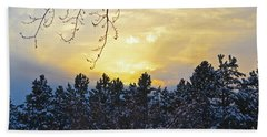 Winter Sunset On The Tree Farm #1 Beach Sheet