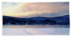 Winter Sunset On Wilson Lake In Wilton Me  -78091-78092 Beach Sheet