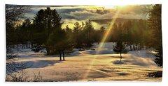 Winter Sunset Rays  Beach Towel