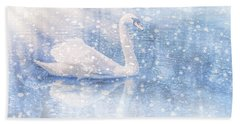 Beach Towel featuring the photograph Winter Swan by Geraldine DeBoer