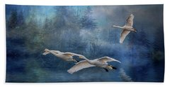Beach Towel featuring the photograph Winter Swans by Brian Tarr