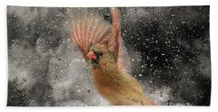Winter Take Off Songbird Art Beach Towel by Jai Johnson
