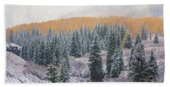 Winter Touches The Mountain Beach Towel by Kristal Kraft