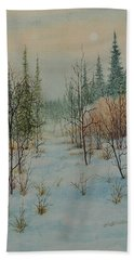 Winter Trail Alberta Beach Towel