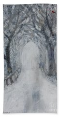 Beach Towel featuring the painting Winter Tree Tunnel by Robin Maria Pedrero