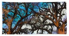Beach Sheet featuring the photograph Winter Trees At Fort Tejon Lebec California Abstract by Floyd Snyder