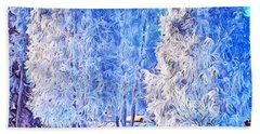 Winter Trees Beach Sheet by Ron Bissett