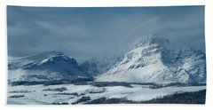 Winter View Of Rising Wolf Mountain Beach Towel
