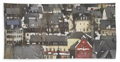 Winter Village With Red House Beach Towel