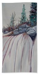 Beach Towel featuring the painting Winter Waterfall by Marilyn  McNish