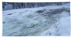 Winter Waterfall Beach Sheet by Tamara Sushko