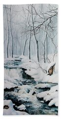 Beach Towel featuring the painting Winter Whispers by Hanne Lore Koehler