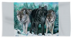 Winter Wolves Beach Towel