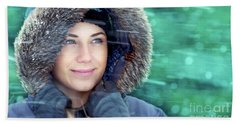 Winter Woman Portrait Beach Sheet