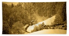 Beach Towel featuring the photograph Winter Wonderland In Switzerland - Up The Hills by Susanne Van Hulst