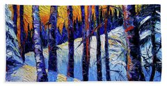 Winter Woodland Sunset Modern Impressionism Palette Knife Oil Painting Beach Towel