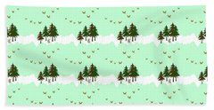 Beach Towel featuring the mixed media Winter Woodlands Bird Pattern by Christina Rollo