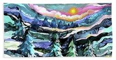 Winter Woods At Dusk Beach Sheet
