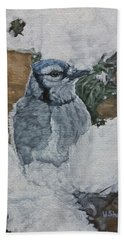 Beach Towel featuring the painting Winters Greeting by Wendy Shoults