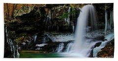Wintery Waterfalls Crop Beach Towel by Barbara Bowen