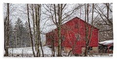 Wintry Barn Beach Sheet by Skip Tribby