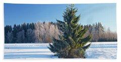 Wintry Fir Tree Beach Towel by Teemu Tretjakov