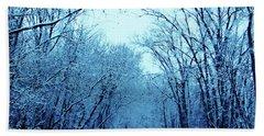 Wisconsin Frosty Road In Winter Ice Beach Towel