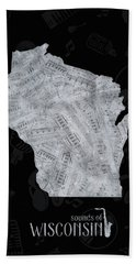 Wisconsin Map Music Notes 2 Beach Towel