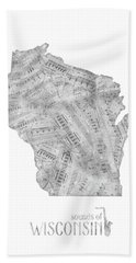 Wisconsin Map Music Notes Beach Towel