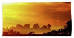 Wisconsin Misty Morning Farm Fields Sunrise Beach Towel