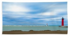 Beach Towel featuring the photograph Wisconsin Winter Lakefront by Steven Santamour